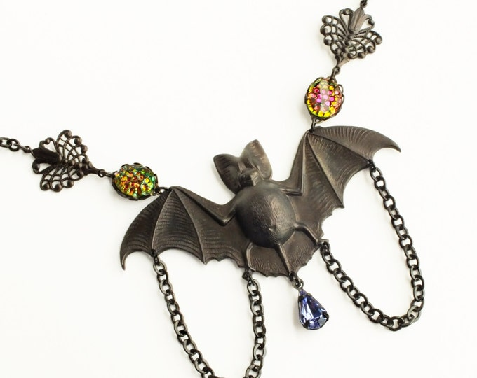 Large Victorian Black Bat Necklace Jeweled Bat Pendant Jewelry Vintage Style Statement Spooky Goth Jewelry