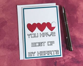 Funny Love Card, Heart Container Love Card, Card for Gamers, Handmade Valentines Day Card, For Him, For Her, Valentine's Love