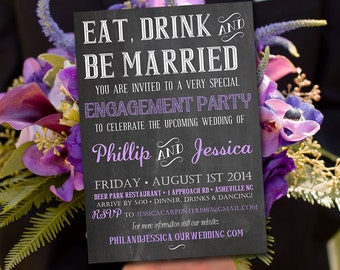 "Chalkboard Bridal Shower Invitation - ""Eat Drink and Be Married"" Lavender Purple Chalkboard Wedding Shower Template - DIY Wedding"