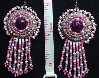Pink and Purple Round Drop Earrings