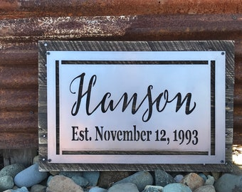 Last name Established date sign, Wedding sign, Anniversary Gift, Rustic Name Sign, Metal and wood name sign, Farmhouse Family Name Sign