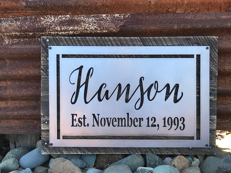 Last name established date sign wedding sign anniversary gift