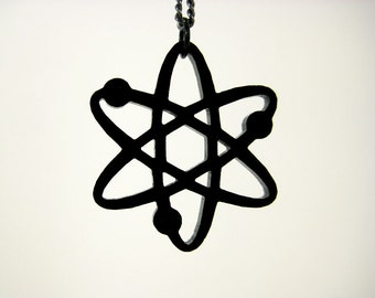 Atom Laser Cut Acrylic Necklace - MADE WITH SCIENCE in Black, White, Silver & Gold