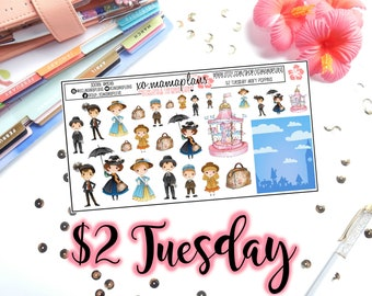 Tuesday's 2's- Mary Poppins Deco | Planner Stickers | Perfect for any planner