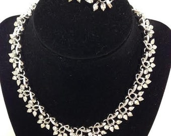 Duane White Rhinestone Necklace and Earring Set