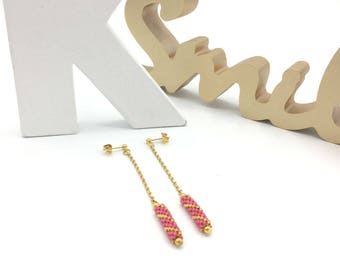 Pink TUBE earrings and gold, hand weaving