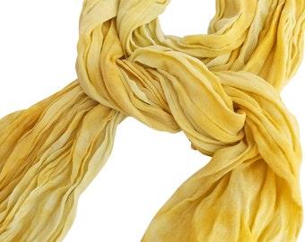 Yellow scarf, yellow silk scarf, chiffon scarf, yellow crinkle scarf, crinkle chiffon, womens scarves, boho scarf, boho style, spring scarf
