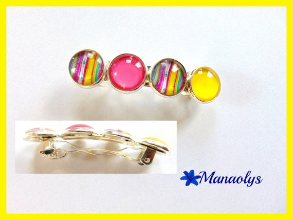 Cabochons glass, multicolored patterns, hair clip