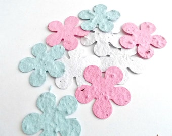 Eco Friendly Baby Shower Decor  - Plantable Paper Flower Confetti - Baby Mix - Pink, Blue and White