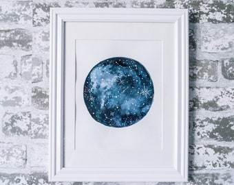 Starry Skies | Abstract Watercolor | Moon and Constellation Art Print