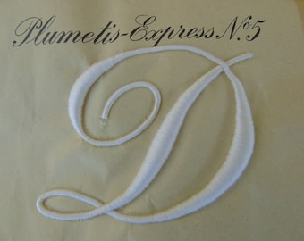 """Stunning, French rare antique, large size monogram Plumetis Express No. 8, of the Letter  """" D """"."""