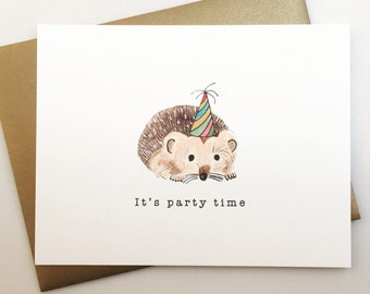 It's Party Time Birthday Card with Hedgehog - handmade - birthday - papergoods - partyhat