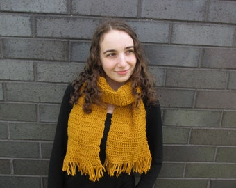 Made to order, handmade crocheted fringe scarf