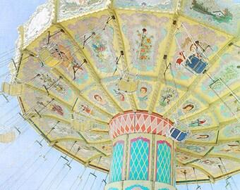 Fair Photography- Carnival Ride Photo, Colorful Fair Swings Print, Bright Pastel Colors, Turquoise Yellow, Children's Decor, Nursery Decor