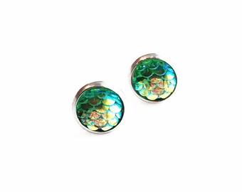 HYPOALLERGENIC Mermaid Earrings 10mm MEDIUM (Surgical Stainless Steel) - Green
