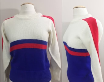 1950s Logan Knitting Mills Preppy Sweater // Red, White and Blue 50s Sweater // 44