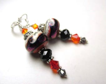 Orange, Black and Purple Lampwork Glass and Crystal Earrings on Sterling Silver
