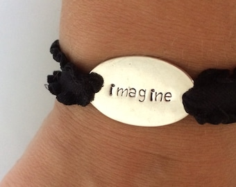 Imagine Bracelet / Hand Stamped Jewelry / Inspirational Bracelet / Motivational Jewelry / Daily Reminder / Gifts Under 5 / Daily Wisdom