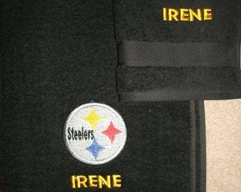 Personalized Steelers Bath & Hand Towel Sports Set Steelers