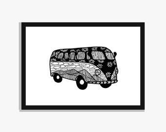 A4 Camper Van Print, Van Life Print, Scenery Patterned Illustration Art, Black and White Pen Drawing, Travellers Gift, Wanderlust Artwork