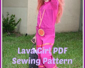 Lava Girl Kids Costume Sewing Pattern, Digital Download, PDF Sewing Tutorial - Girls Shark Boy and Lava Girl Costumes - DIY