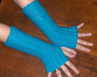 Turquoise arm warmers Texting Fingerless Crochet Gloves Turquoise Handmade Crochet Arm Warmers Hand Warmers Fingerless Mittens Unisex Gloves