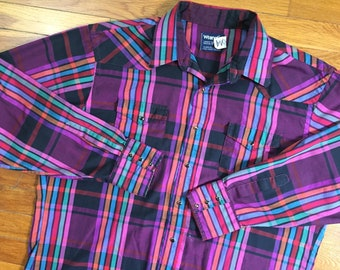 90s Wrangler Colorful Plaid Pearl Snap Western Shirt size XL ~ 26248