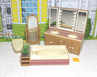 """TOMY BATHROOM SUITE, Hard Plastic, 1970's, """"Smaller Homes and Garden"""", 1:18 Lundby Scale,  Vintage Dollhouse Furniture"""