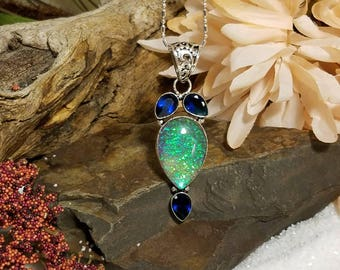 Austraian triplet opal with sapphires in sterling silver