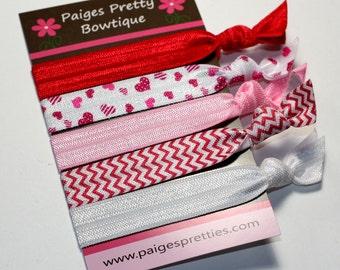 Valentine Elastic Hair Ties-Elastic Bracelet- 5 Pack