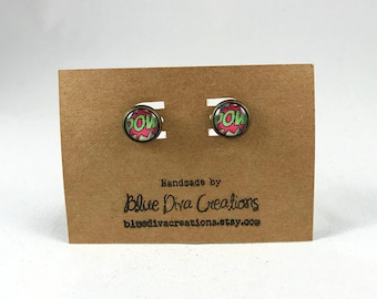 POW Earrings, Comic Book Earrings , Superhero Earrings, Superhero Jewelry, Retro Earrings, Comic Jewelry, Post Earrings, Stud Earrings