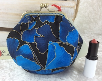 Handmade coin purse frame kiss clasp fabric change wallet pouch Blue Ginko Leaves
