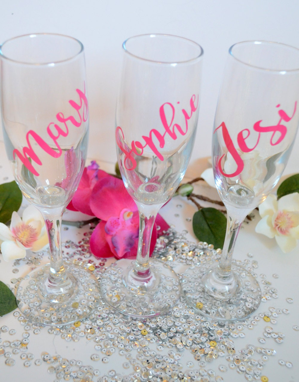 Personalized Bridesmaid Champagne Glasses Personalized