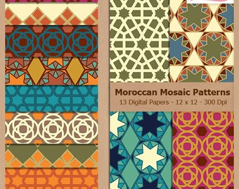 Digital Scrapbook Paper Pack - MOROCCAN MOSAIC PATTERNS - Instant Download