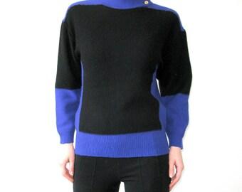 SONIA RYKIEL Blue Black Colorblock Sweater Jumper