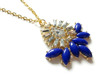 Navy Rhinestone Gold Statement Necklace
