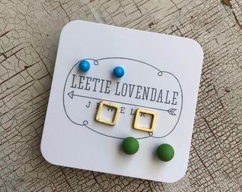 Minimalist Earrings Set | Tiny Geometric Studs | Lime Green Gold Squares & Turquoise Stud Earrings