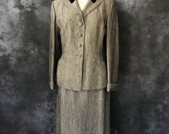 """Vintage 1950's black and white wool suit 32"""" waist AS IS"""
