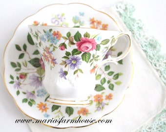 Vintage English Bone China Tea Cup & Saucer by Royal Albert, Random Harvest Series, Devon Pattern, Replacement China - 1966+