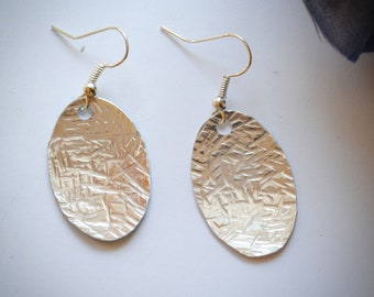 Small Oval Textured Metal Earrings
