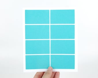 35x60mm Plain Blue Stickers - Large sticky labels - Rectangular with round corner - Made of matte paper - Great for rubber stamping