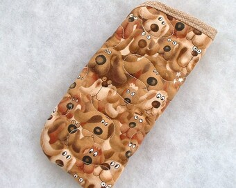 Quilted Eyeglass case - Brown Dogs