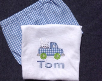 Boys Easter Outfit, blue gingham, shorts, pants, diaper cover, tee shirt, tee shirt and shorts