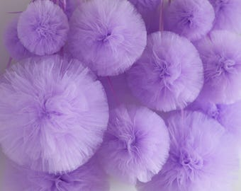 "Small tulle pom poms / tulle balls 5""/13 cm/ custom colors / Wedding decor  / Party Decoration / Tutu / baby shower / tulle pompoms / fabric"