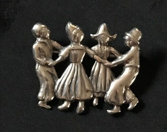 Sterling Silver - Dutch Figures Dancing Pin