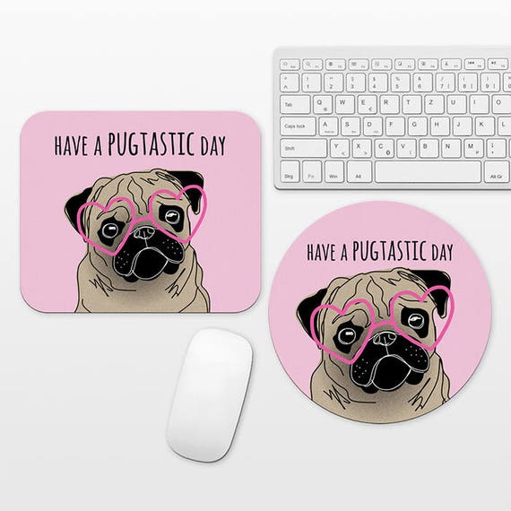 Pug Mouse Pad Round or Rectangle, Pug Mousepad Dog Mouse Pad Pink Mouse Pad Cute Mouse Pad Funny Mouse Pad Pug Desk Decor, Mouse Pad for Her