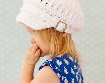 5 Sizes White Sparkle Newsboy Cap Baby Newsboy Hat Baby Girl Baby Hat Toddler Girl Newsboy Toddler Hat Womens Newsboy Womens Hat Buckle