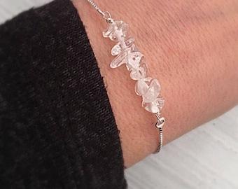 Crystal Quartz Bracelet - Raw Stone Crystal Chip Bracelet - Adjustable Slide Bracelet - April Birthday Gift for Her - Stacking Bracelet
