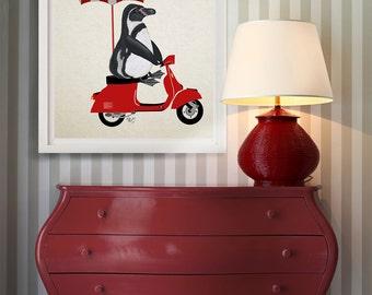 Penguin print - Penguin red moped - penguin nursery art penguin gift penguin décor penguin picture penguin illustration penguin poster