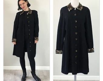 Vintage 80s Leopard collar jacket  S  M